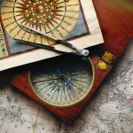 Antique compass and map