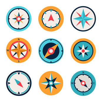 Wind rose compass flat symbols set
